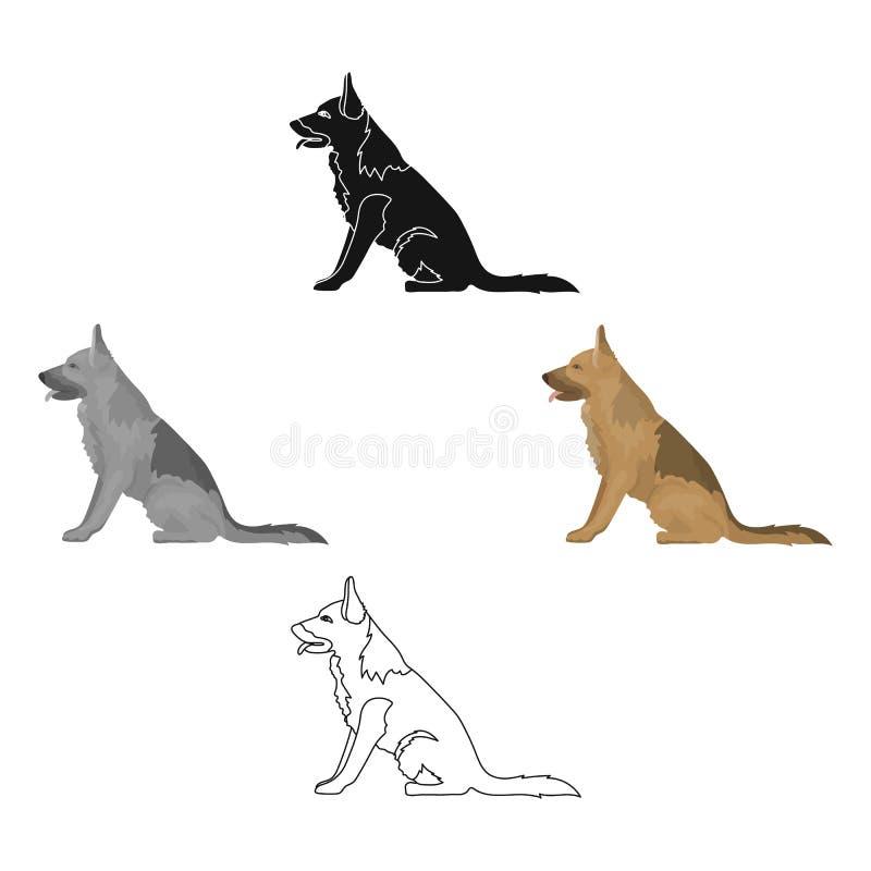 Politiehond voor het vasthouden van misdadigers Opgeleide herder voor gevangenis Gevangenis enig pictogram in beeldverhaal, zwart stock illustratie