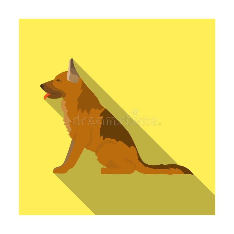 Politiehond voor het vasthouden van misdadigers Opgeleide herder voor gevangenis Gevangenis enig pictogram in de vlakke voorraad  stock illustratie