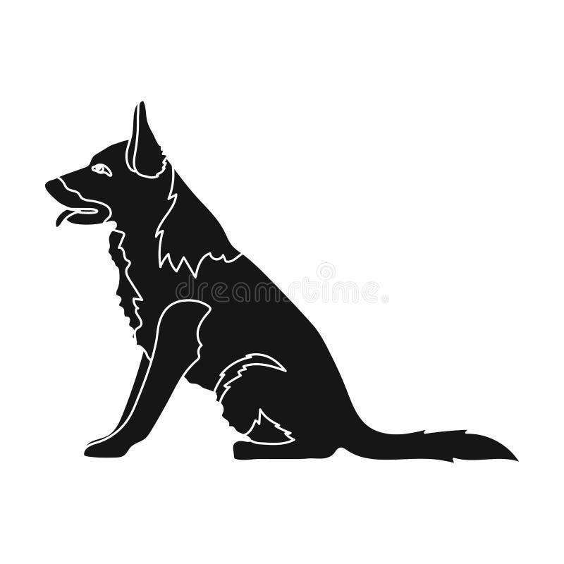 Politiehond voor het vasthouden van misdadigers Opgeleide herder voor gevangenis Gevangenis enig pictogram in de zwarte voorraad  royalty-vrije illustratie