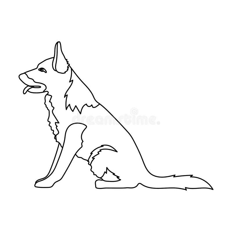 Politiehond voor het vasthouden van misdadigers Opgeleide herder voor gevangenis Gevangenis enig pictogram in vector het symboolv royalty-vrije illustratie