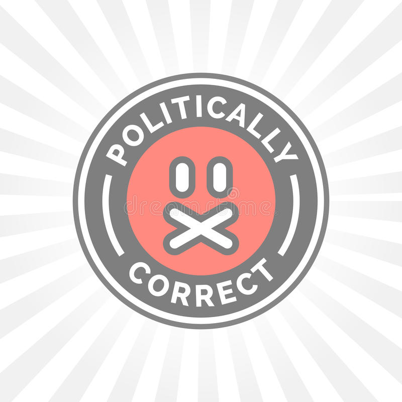 Politiek Correct pictogram De politieke vrijheid van de juistheidscensor van toespraak vector illustratie