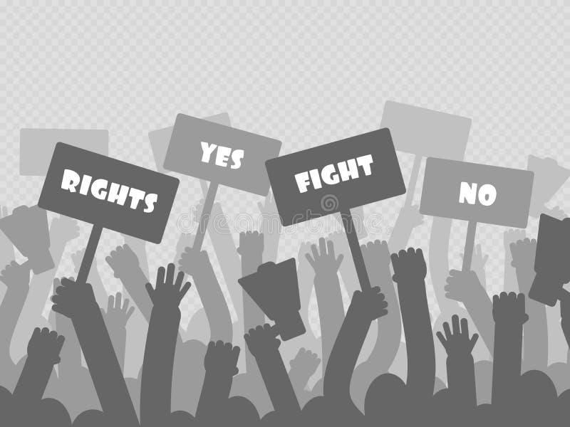 Politiek protest die met de handen van silhouetprotesteerders megafoon houden vector illustratie
