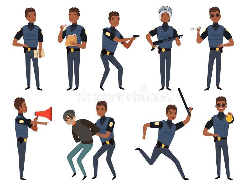Politiekarakters De mascottes van het de veiligheidsgezag van de patrouillepolitieagent in actie stelt vectorbeeldverhaalillustra stock illustratie