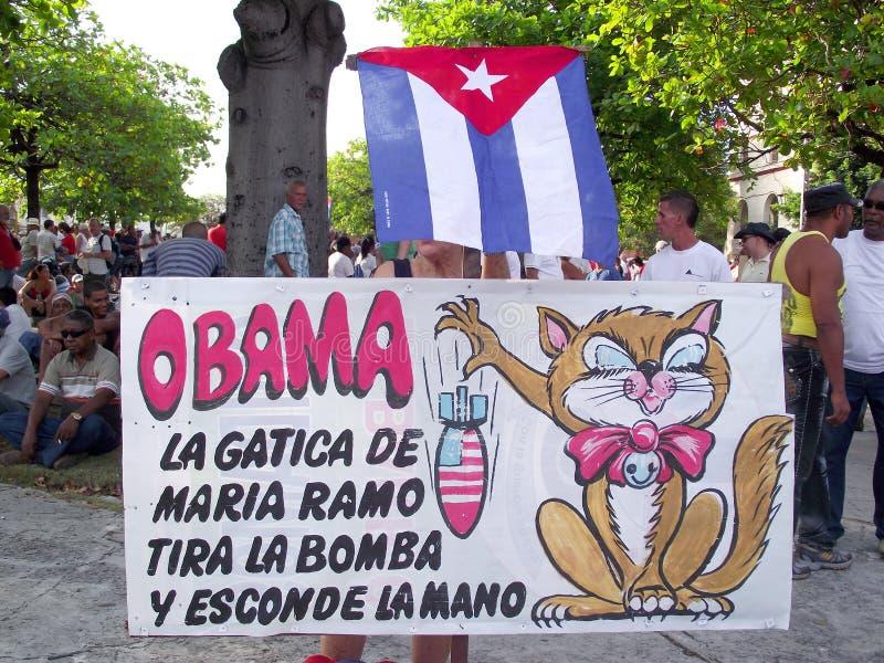 Politieke Cubaanse affiche tegen Obama in Meidag maart royalty-vrije stock foto