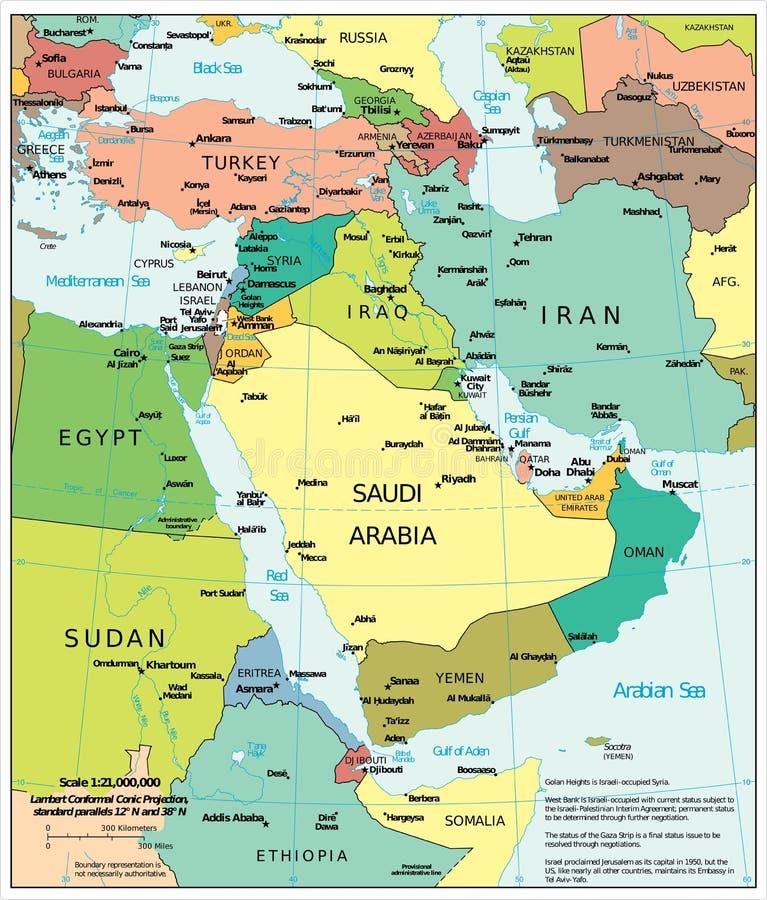 Politieke de afdelingenkaart van het Midden-Oostengebied stock illustratie