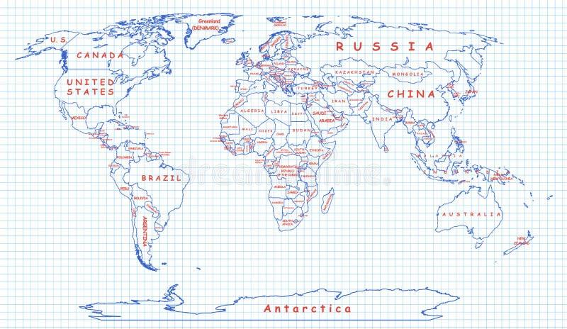 Politieke die kaart van de wereld met blauwe pen wordt getrokken royalty-vrije illustratie