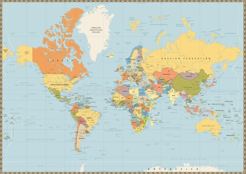 Politieke die Wereldkaart op uitstekende blauwe kleur wordt geïsoleerd vector illustratie