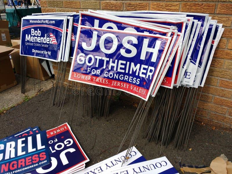 Politieke Gazontekens, de Politici van New Jersey, Verkiezing, de V.S. royalty-vrije stock afbeelding