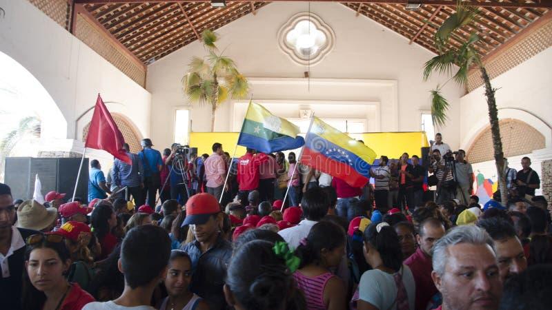 Politieke handeling van het zweren in burgemeesters van de Staat van Nueva Esparta stock afbeeldingen