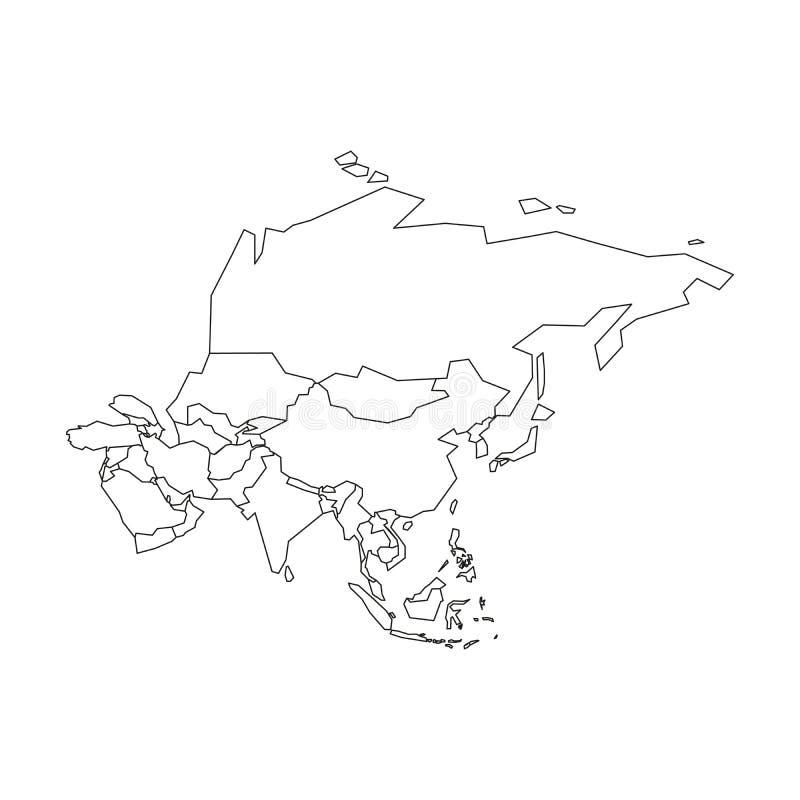 Politieke kaart van Azi? Vereenvoudigd zwart wireframeoverzicht Vector illustratie royalty-vrije illustratie
