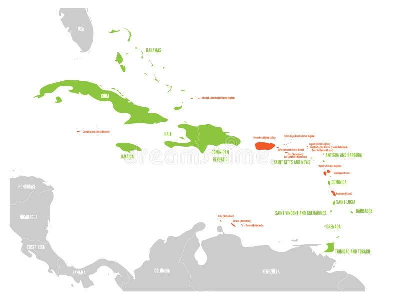 Politieke kaart van de Caraïben Groene benadrukte soevereine staten en oranje afhankelijke gebieden Eenvoudige vlakke vector royalty-vrije illustratie
