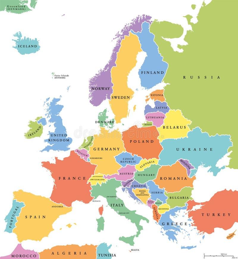 Politieke kaart van de staten van Europa de enige royalty-vrije illustratie