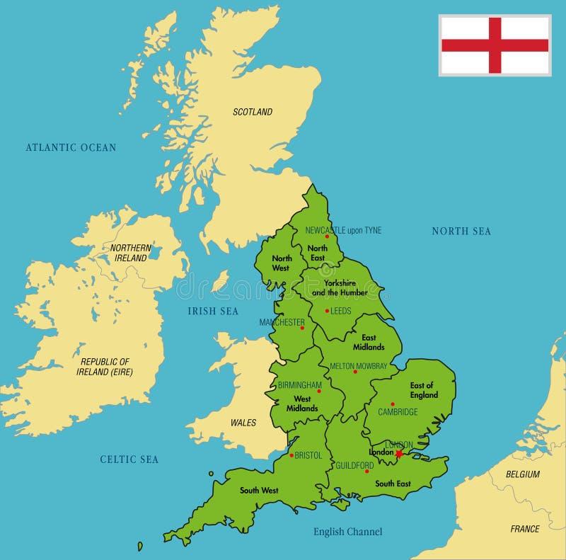 Politieke kaart van Engeland met gebieden en hun kapitalen royalty-vrije illustratie