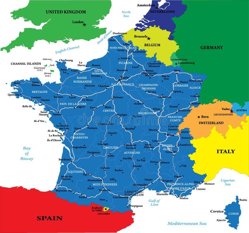 Politieke kaart van Frankrijk stock illustratie