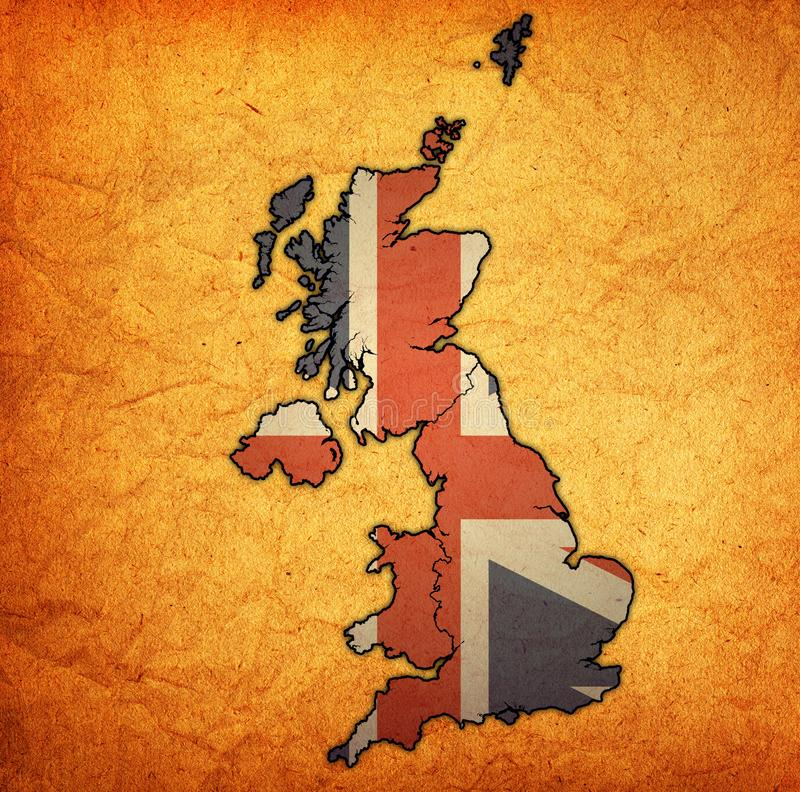 politieke kaart van het verenigd koninkrijk met de lidstaten royalty-vrije illustratie