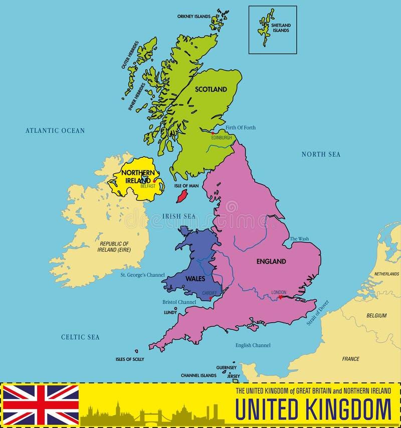 Politieke kaart van het Verenigd Koninkrijk met gebieden en hun kapitalen stock illustratie