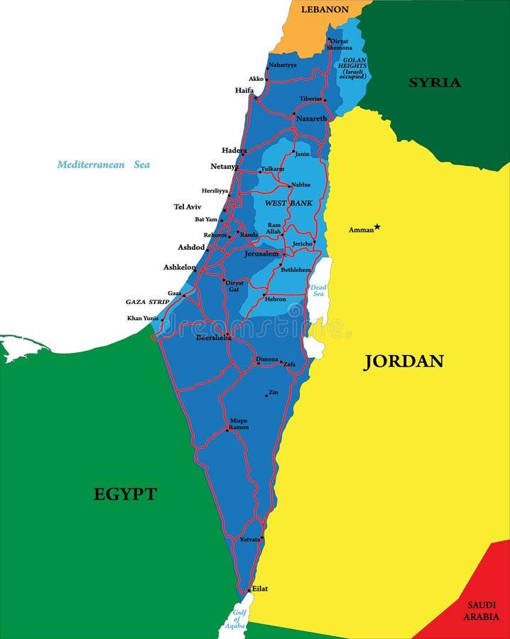 Politieke kaart van Israël vector illustratie
