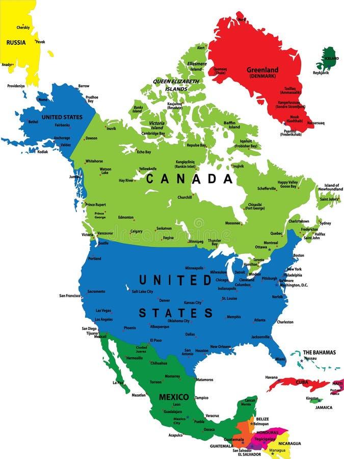 Politieke kaart van Noord-Amerika vector illustratie