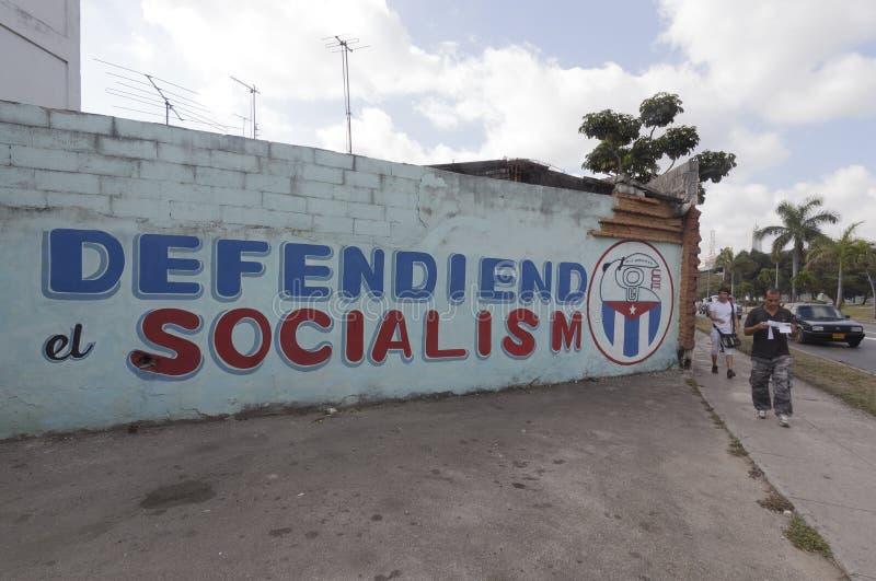Politieke propaganda in Havana, Cuba stock foto's