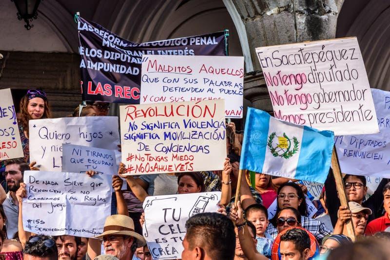 Politieke protesten, Antigua, Guatemala royalty-vrije stock fotografie