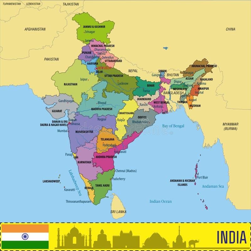 Politieke vectorkaart van India vector illustratie