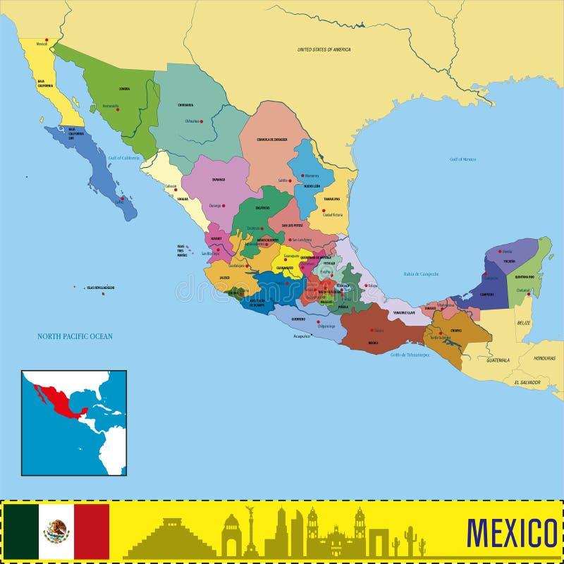 Politieke vectorkaart van Mexico stock illustratie