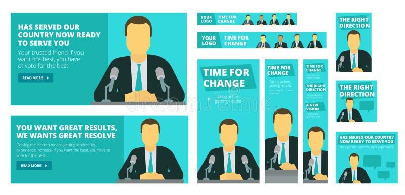 Politieke verkiezingscampagne Politicus of zakenman die vóór een microfoon spreken royalty-vrije illustratie