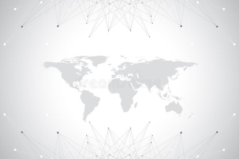 Politieke Wereldkaart met het globale concept van het technologievoorzien van een netwerk Digitale Gegevensvisualisatie Lijnenvle vector illustratie