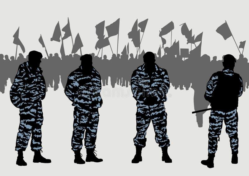 Politiemacht en demonstratiesystemen stock illustratie