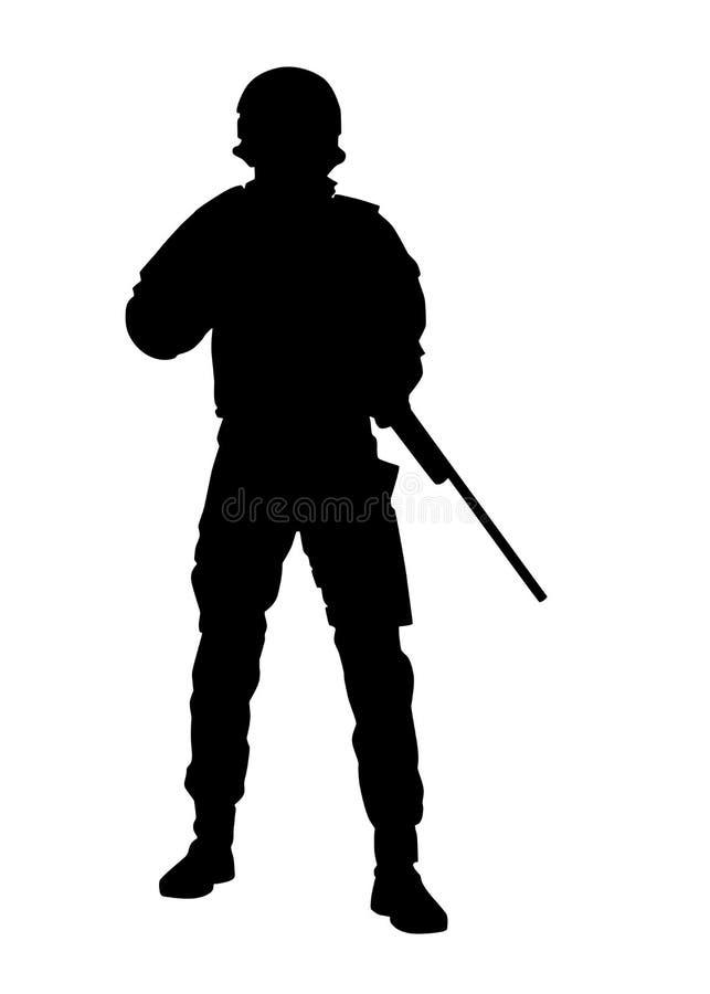 Politiemachtensluipschutter met geweer vectorsilhouet stock illustratie