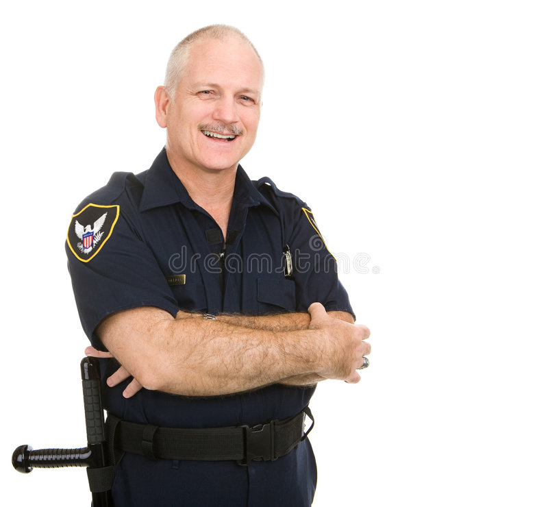 Politieman - Glimlachen royalty-vrije stock fotografie