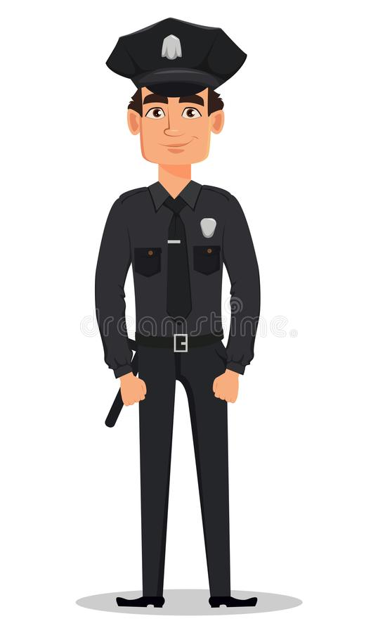 Politieman, politieagent die zich rechtstreeks bevinden Glimlachende cop van het beeldverhaalkarakter vector illustratie