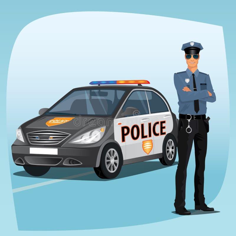 Politieman of politieagent met patrouillewagen vector illustratie