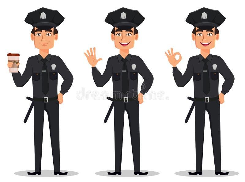 Politieman, politieagent Reeks van cop van het beeldverhaalkarakter met een kop van koffie, golvende hand en het tonen van o.k. t royalty-vrije illustratie