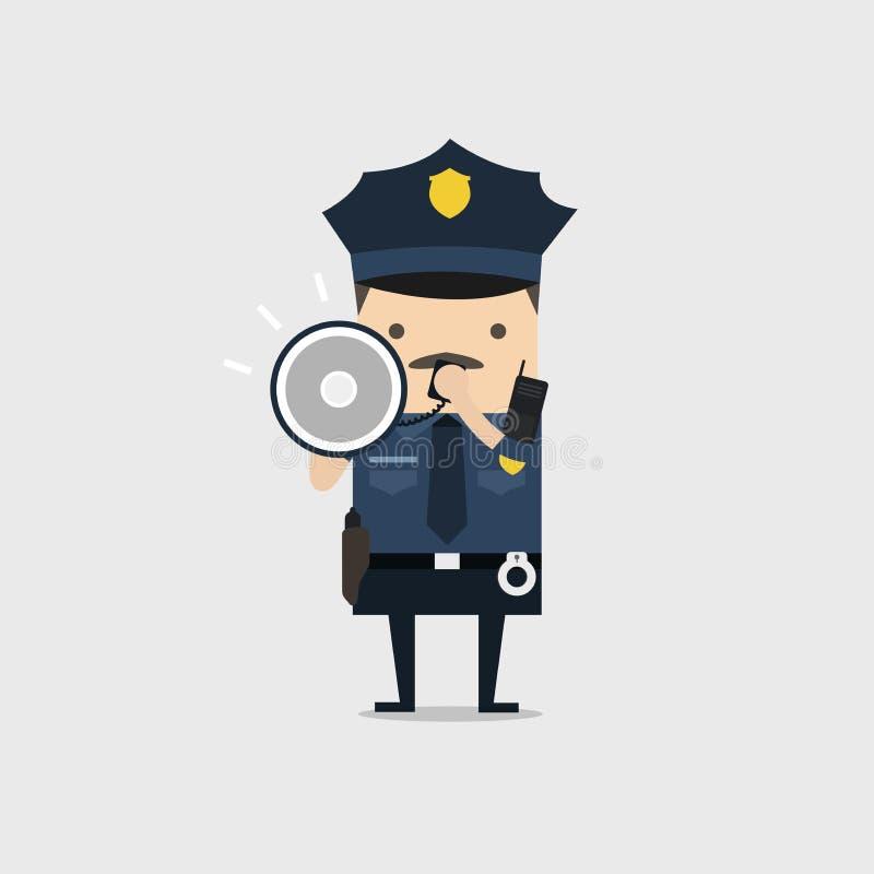 Politiemankarakter in een blauwe eenvormige het schreeuwen gebruikende megafoon Politieagentkarakter op het werk royalty-vrije illustratie