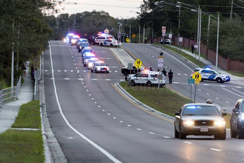 Politiemannen begrafenisoptocht royalty-vrije stock fotografie