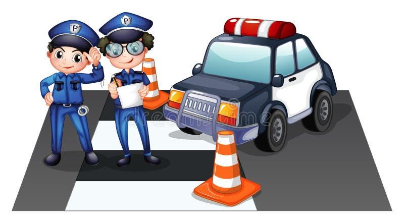 Politiemannen bij de weg royalty-vrije illustratie