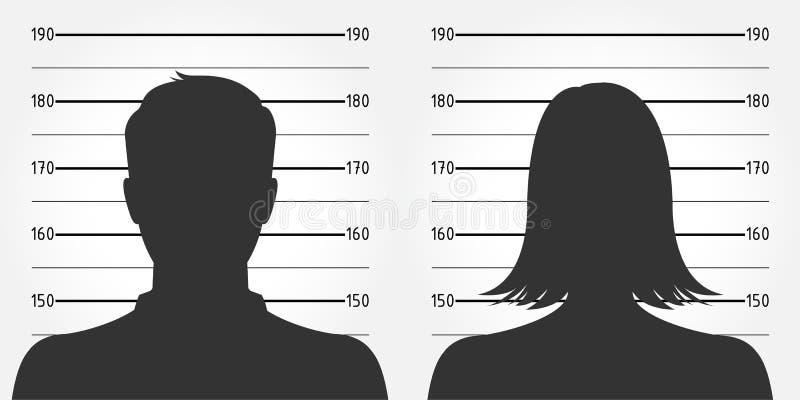 Politieopstelling of mugshot van anonieme mannelijke & vrouwelijke silhouetten royalty-vrije illustratie