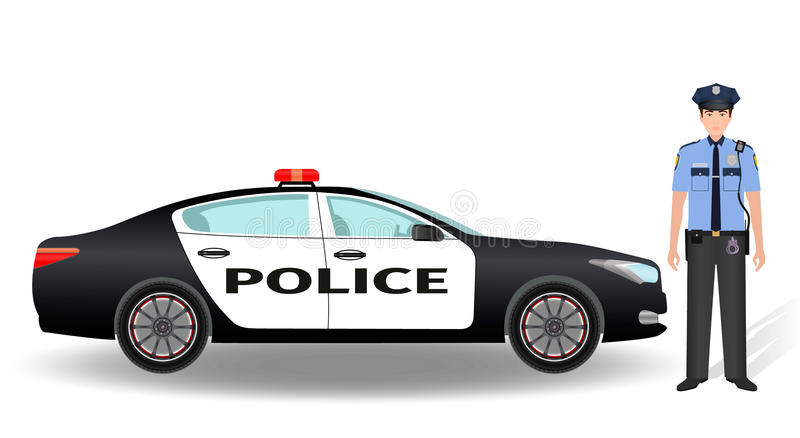 Politiepatrouillewagen en politieagentambtenaar op witte achtergrond wordt geïsoleerd die vector illustratie