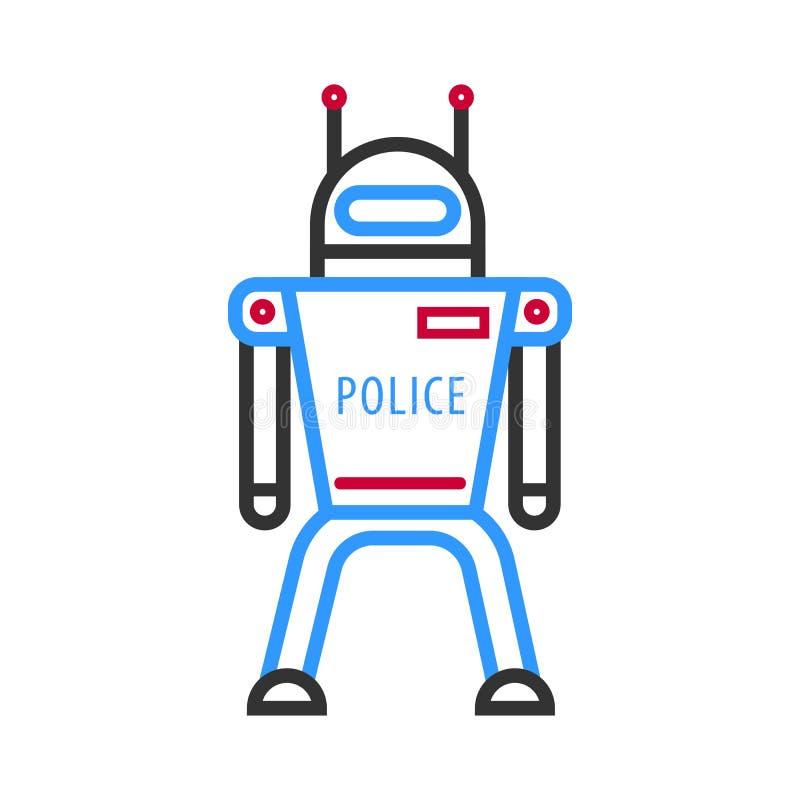 Politierobot op witte achtergrond Futuristische androïde militaire machine royalty-vrije illustratie