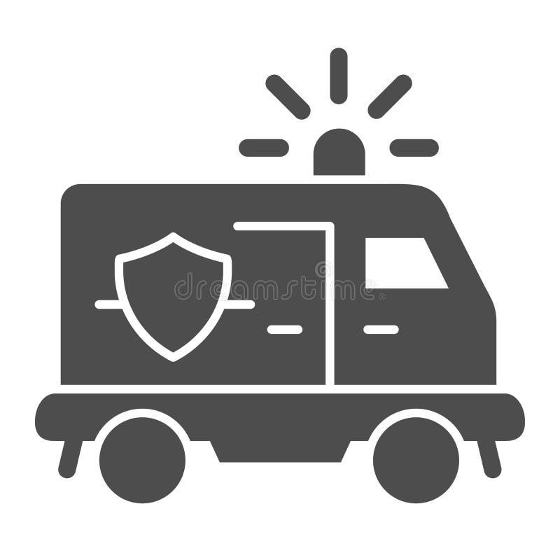Politievan solid pictogram Politie automobiele vectordieillustratie op wit wordt ge?soleerd De stijlontwerp van het politievoertu vector illustratie