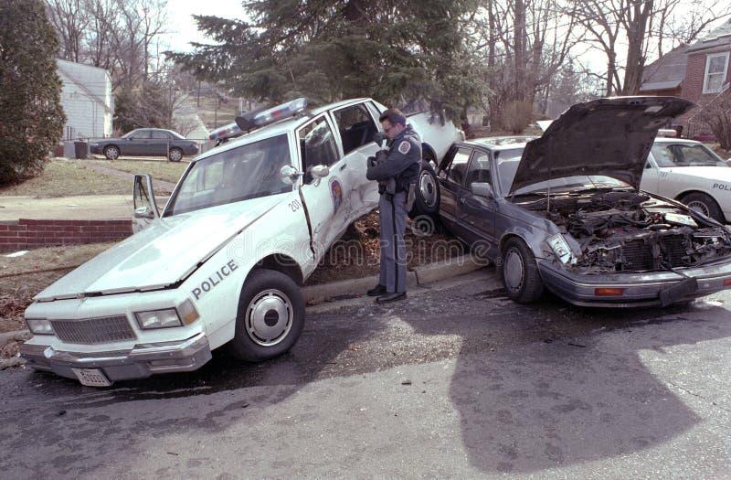 Politiewagen betrokken bij een ongeval royalty-vrije stock fotografie