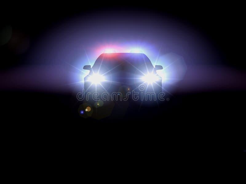 Politiewagen in duisternis stock afbeeldingen