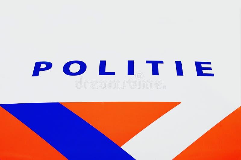 Politiewagen het Nederlands: Politie auto vooraanzicht royalty-vrije stock afbeeldingen