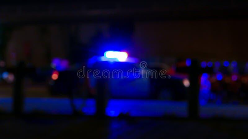 Politiewagen met sirene, Defocused royalty-vrije stock afbeeldingen
