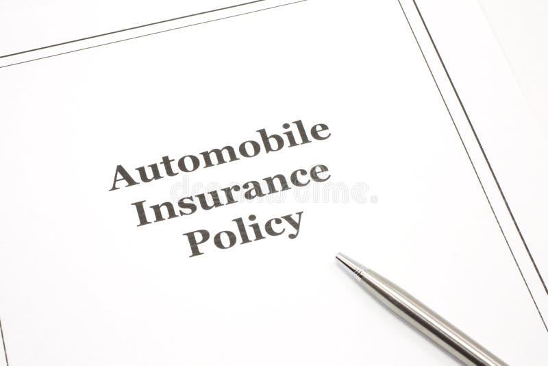 politik för bilförsäkringpenna arkivbilder
