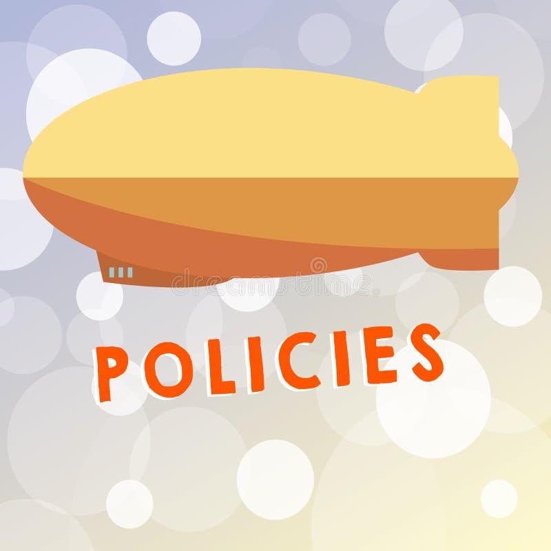Politik för textteckenvisning Begreppsmässig fotokurs eller princip av handling som adopteras eller föreslås av organisation stock illustrationer