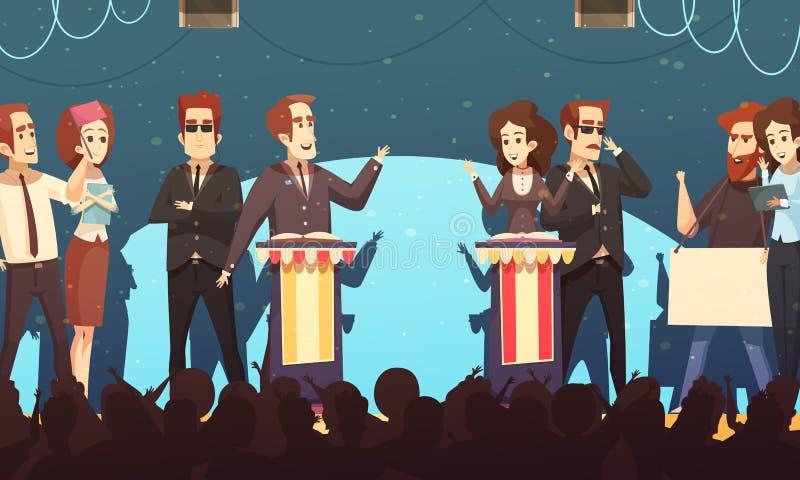 Politik-Wahl debattiert Karikatur-Illustration lizenzfreie abbildung