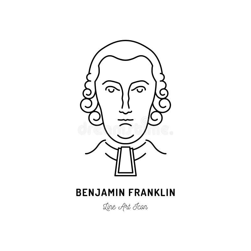 Politiker Benjamin Franklin Icons USA Linie Kunstikone, Vektorillustration vektor abbildung