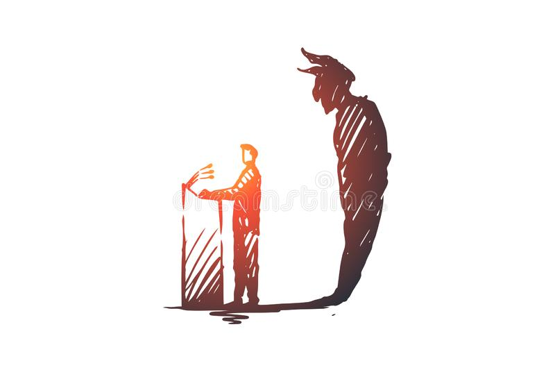 Politiker debatt, valbegrepp Den drog handen skissar den isolerade illustrationen stock illustrationer